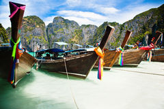 Thailand ocean landscape. Exotic beach view and traditional shi Stock Photography