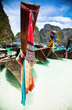 Thailand ocean landscape. Exotic beach view and traditional shi Royalty Free Stock Photography