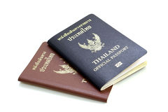 Thailand Official Passport and Thailand Passport. On white background royalty free stock images