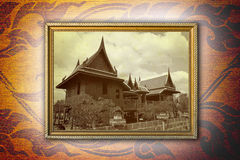 Thailand old house in gold frame. Royalty Free Stock Photos