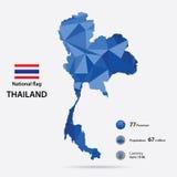 Thailand op de wereldkaart met een blauw abstract patroon op grijze achtergrond Stock Fotografie