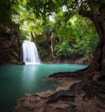 Thailand outdoor photography of waterfall in rain jungle forest. Royalty Free Stock Photos