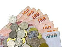Thailand paper currency and coins Royalty Free Stock Photo