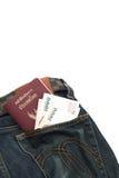 Thailand pass, i backpocketjeansen, att resa, att isolera Arkivbild