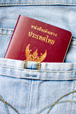 Thailand Passport. In the jeans pocket stock photo