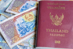 Thailand passport. And Laos money Stock Images