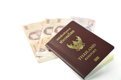 Thailand passport and banknote Royalty Free Stock Photos
