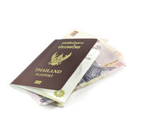 Thailand passport and banknote Royalty Free Stock Images