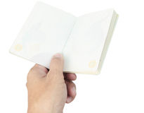 Thailand Passport blank and hand on white stock image