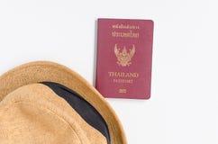 Thailand Passport , brown hat. Thailand Passport , brown hat on white background stock photos