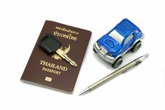 Thailand Passport and Car for Travel Concept. Thailand Passport, key and Car for Travel Concept royalty free stock photo