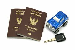 Thailand Passport and Car for Travel Concept. Thailand Passport, key and Car for Travel Concept stock photography