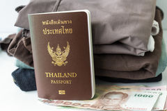 Thailand Passport and clothes stock photography