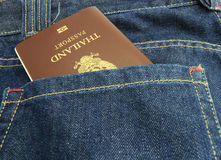 Thailand Passport in denim jeans pocket Royalty Free Stock Photos