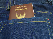 Thailand Passport in denim jeans pocket Royalty Free Stock Photo