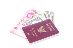 Thailand passport, Dollar USA and RMB Chinese. On white background royalty free stock photos