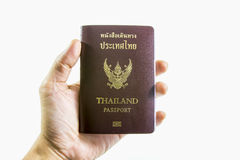 Thailand passport in hand Royalty Free Stock Photo