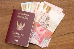 Thailand passport with hongkong currency. Royalty Free Stock Photography