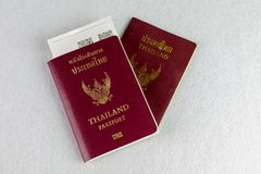 Thailand passport on isolate background. And paper texture background stock photography