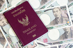 Thailand passport. On the Japanese banknotes Stock Photography