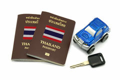 Thailand Passport, Key and Car Model for Travel or A.E.C. concept Royalty Free Stock Photo