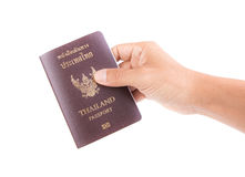 Thailand passport. On man hand royalty free stock images