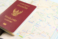 Thailand passport with map. Close up of Thailand passport with map royalty free stock image