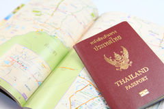 Thailand passport with map. Close up of Thailand passport with map royalty free stock photos