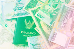 Thailand passport and money. With filter colored royalty free stock images