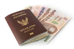 Thailand Passport and money Royalty Free Stock Photography