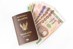 Thailand Passport and money Stock Photo