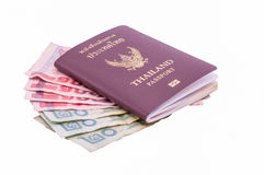 Thailand passport. With money on over white background Royalty Free Stock Photography