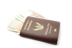 Thailand passport with money Royalty Free Stock Photography