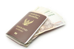 Thailand passport with money Royalty Free Stock Photo
