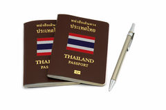 Thailand passport and pen for Travel concept Royalty Free Stock Image