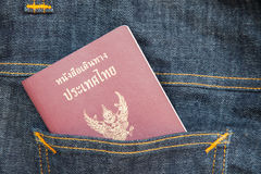 Thailand passport in the pocket. For travel royalty free stock photo