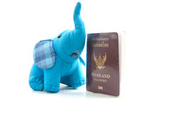 Thailand passport and silk elephant Royalty Free Stock Photos