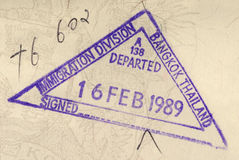 Thailand passport stamp. Thailand immigration stamp or travel permit on the inside page of a passport stock photo