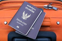 Thailand Passport with suitcase  Travel concept background. Texture stock images