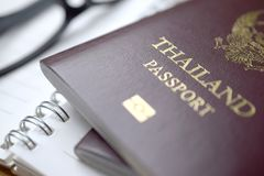 Thailand passport on table. Closeup royalty free stock image