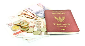 Thailand passport and Thai money Stock Images