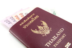 Thailand passport and Thai money Royalty Free Stock Images