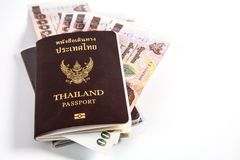 Thailand passport with Thai money and free right space Stock Photography