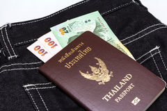 Thailand passport with Thai money Royalty Free Stock Images