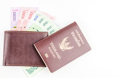 Thailand passport and Thai money and wallet. Stock Image