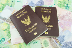 Thailand Passport on Thailand Banknotes Royalty Free Stock Images