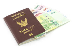 Thailand Passport and Thailand Banknotes Royalty Free Stock Images