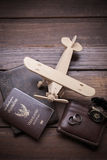 Thailand passport and traveler set on wood background, vintage a. Nd retro style royalty free stock photography