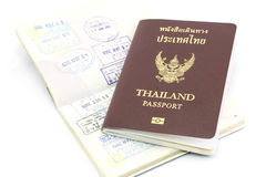 Thailand passport visa stamp isolated Stock Photos