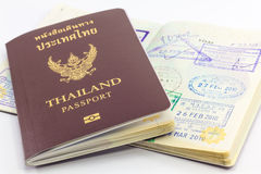 Thailand passport and visas. Thailand passport and old visas stock photo